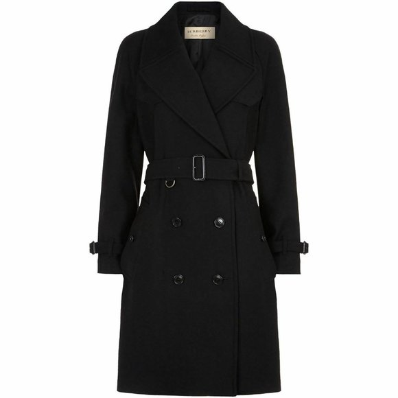 NWT BURBERRY Cranston WOOL Cashmere Belted TRENCH COAT BLACK 6 $1600+ AUTHENTIC